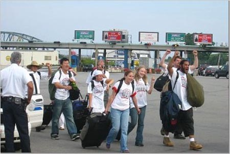 Celebrations at the border crossing in Buffalo